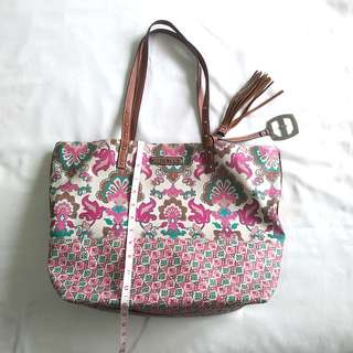 Ellen Tracy Leather Floral Tote Bag