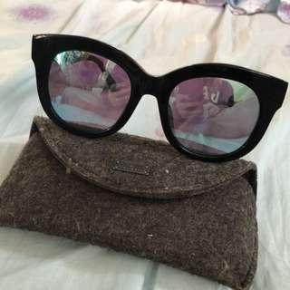 HACHill HK黑框淺藍色水銀太陽眼鏡