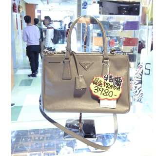 Prada Gray Leather Classic Killer Shoulder Hand Bag 普拉達 灰色 牛皮 皮革 十字紋 經典款 殺手包 手挽袋 手袋 肩袋 袋