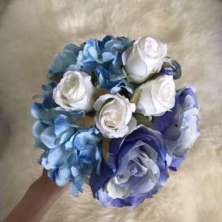 Fake Blue Flower Bouquet