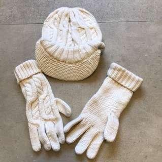 100% cashmere hat + hand gloves set