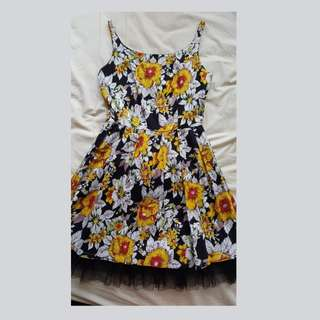 Just G Floral Mini Dress with Lace