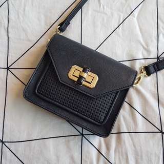 Tony Bianco Black Gold Cross Body Bag
