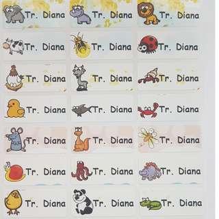 Cartoon Animal Children Name Sticker Labels