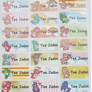 Carebear Children Name Sticker Labels