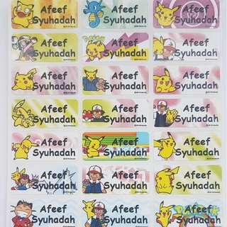 Pokemon Children Name Sticker Labels