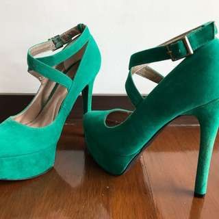 Turquoise green suede strappy heels