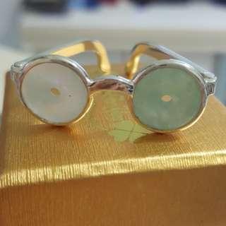 天然緬甸玉a貨平安扣925銀超萌眼鏡造型可DIY做成別針或可愛小擺件
