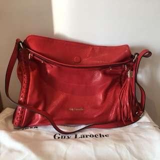[正貨特賣⚡️Sale🈹全新]Guy Laroche 真皮 紅色 大容量 磁石口 兩用 手袋(100%新)