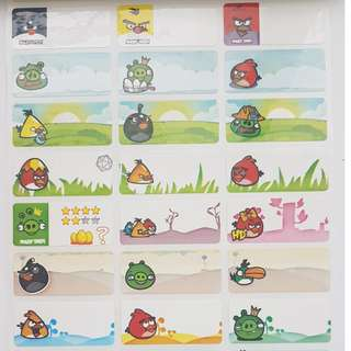 Angry Bird Children Name Sticker Labels
