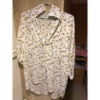 🚚 碎花前段後長雪紡襯衫