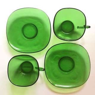 50s Forest green Fire king tea cup set