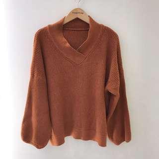 [含運]全新立領棕色毛衣