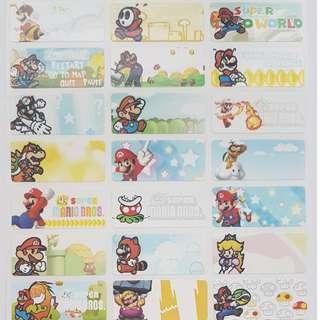 Mario Children Name Sticker Labels