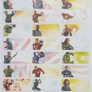 Avengers Children Name Sticker Labels