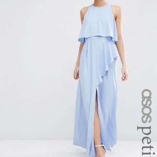 ASOS Petite Crop Top Ruffle Split Maxi Dress