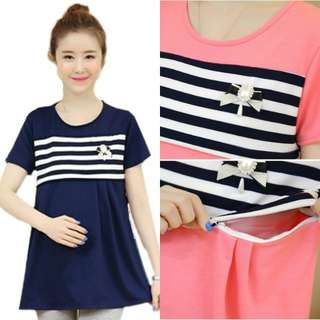 SIMPLE WHITE HORIZONTAL STRIPE SHORT SLEEVE MATERNITY + NURSING TOP- DARK BLUE