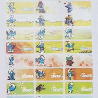 Smurfs Children Name Sticker Labels