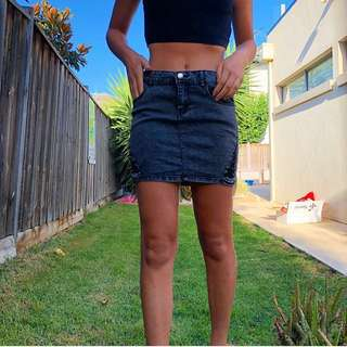 Black stretchy denim mini skirt