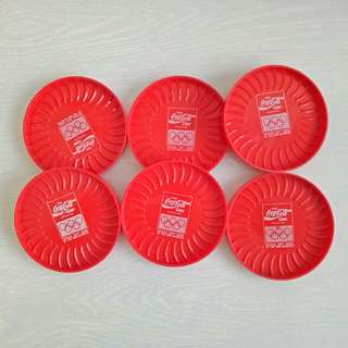 80s Enjoy Coke Olympics diameter 8.5cm unused 6pcs $6