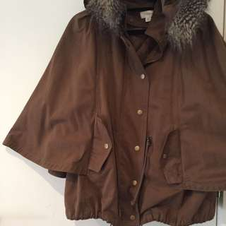 WITCHERY Cape Poncho Parka in Brown