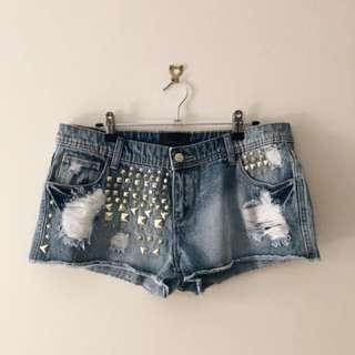 Denim studded distressed shorts SZ 14