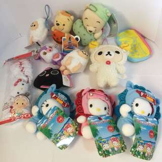 assorted plush hello kitty rilakkuma etc. Set