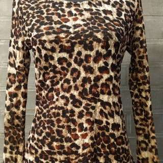 F21 Leopard Print See-through long sleeves top