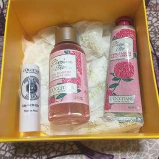 L'OCCITANE lip balm, hand cream, shower gel