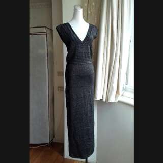 RJSTORY 奢華金蔥雙V領彈性長洋裝