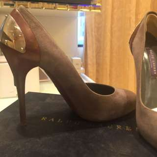 灰色拼啡 Ralph Lauren high heel