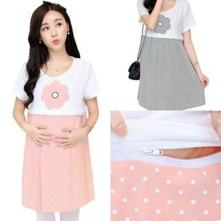 FLOWER DESIGN WITH WHITE POLKA DOT SHORT SLEEVE MATERNITY + NURSING DRESS