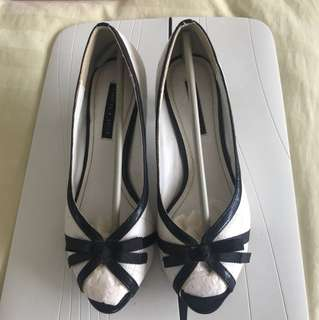 Charles & Keith White Mini Heels