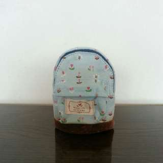 Blue Flower Print Backpack Style Pouch