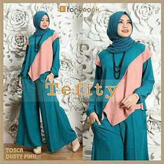 BNC. TEFITY SET 3IN1 GREEN 99.000 set 3in1 blouse+pashmina+kulot kantong samping kiri-kanan matt full jersey premium fit to XXL