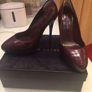 超美💕酒紅色鰐魚皮Ralph Lauren high heel