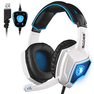 (Free XL size mousepad) Promo SADES 7.1 Surround Sound only USB Gaming Headset with mic (White)