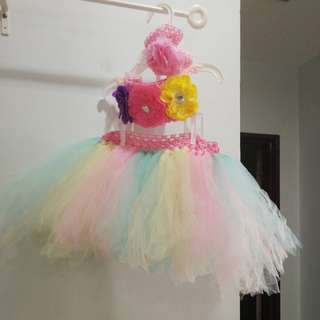 Baby girl colorful tutu dress set