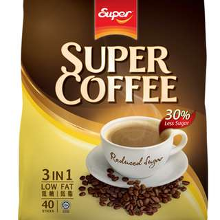 Super Coffee 3in1 Low Fat Reduced Sugar ( 30% Less Sugar ) per Sachet