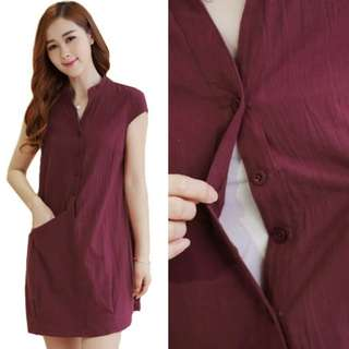 KOREAN STYLE PLAIN MATERNITY AND NURSING DRESS - MAROON