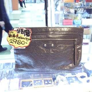 Balenciaga Gray Leather Classic Pouch Clutch Hand Bag 巴黎世家 灰色 羊皮 皮革 經典款 手抓包 手拿包 手袋 袋