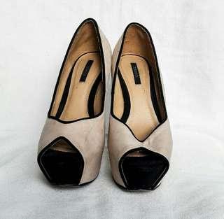 F21 nude peeptoe platform heels