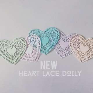 Heart Lace Heartshape color pastel doily