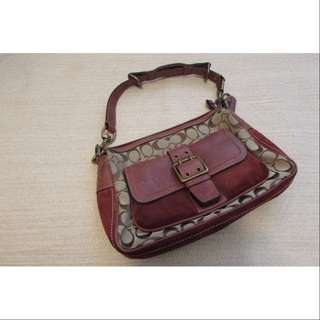 Coach C04U-7063 Signature Suede Leather Burgundy Handbag | 手袋
