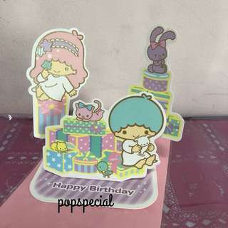Last PCS Little Twin Stars Standing Birthday Card with envelope