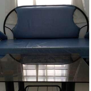3-seater blue sofa (faux leather)