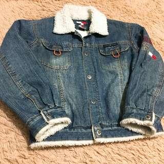 古著 美製tommy重磅舖毛牛仔外套 vintage