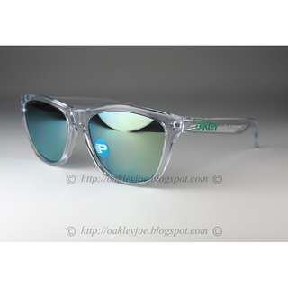 Brand New Oakley Custom Frogskins clear + jade iridium polarized