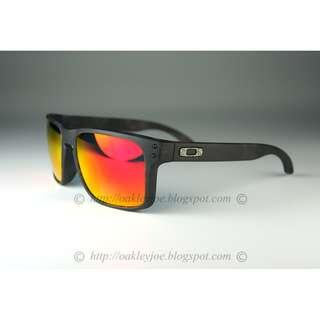Brand New Oakley Custom Holbrook matte black tortoise + ruby iridium lens