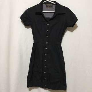Black Garterized Polo Dress